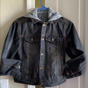 DKNY hooded jeans jacket.